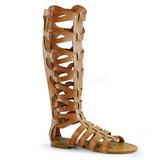 Kräm ATHENA-200 knähöga gladiator sandaler för damer
