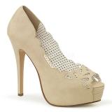 Kräm Konstläder 13,5 cm BELLA-30 dam pumps skor med öppen tå