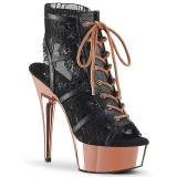 Lace Fabric 15 cm DELIGHT-696LC chrome platform ankle booties
