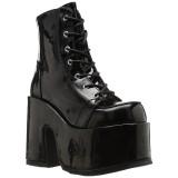 Lackläder 13 cm CAMEL-203 Svarta boots med platåklack från demonia