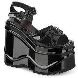 Lackl�der 15 cm Demonia WAVE-09 lolita plat�sandaler med kilklack