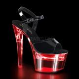 Lackläder 18 cm FLASHDANCE-709 strippskor poledance sandaletter skor LED glödlampa