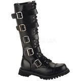 Läder RIOT-18BK Punk Stövlar för Män Goth Stövlar
