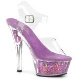 Lavendel 15 cm KISS-208GF glittriga platå sandaler skor