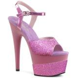 Lavendel 18 cm ADORE-709-2G glitter platå high heels