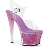 Lavendel 18 cm SKY-308G-T glittriga platå sandaler skor