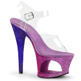Lavendel glittriga klackar 18 cm Pleaser MOON-708OMBRE pole dance skor