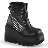 Leatherette 11,5 cm SHAKER-50 lolita ankle boots goth wedge platform