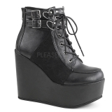 Leatherette 12,5 cm POISON-105 lolita ankle boots wedge platform