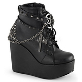 Leatherette 13 cm POISON-101 lolita ankle boots goth wedge platform