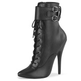 Leatherette 15 cm DOMINA-1023 Black ankle boots high heels
