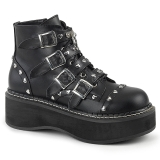 Leatherette 5 cm DEMONIA EMILY-315 goth ankle boots with buckles