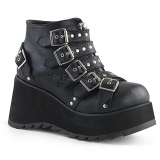 Leatherette 8 cm DEMONIA SCENE-30 goth ankle boots with buckles