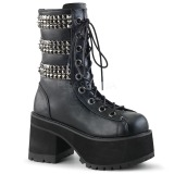 Leatherette 9,5 cm DEMONIA RANGER-305 goth ankle boots with rivets