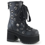 Leatherette 9,5 cm DEMONIA RANGER-310 goth ankle boots with rivets