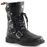 Leatherette Black DEFIANT-306 Mens Buckle Boots