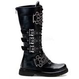 Leatherette Black DEFIANT-402 Mens Buckle Boots