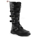 Leatherette Black DEFIANT-420 Mens Buckle Boots