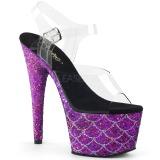 Lila 18 cm ADORE-708MSLG glittriga platå sandaler skor
