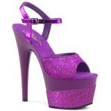 Lila 18 cm ADORE-709-2G glittriga klackar platå sandaler skor