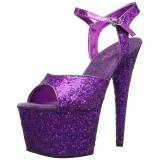Lila 18 cm ADORE-710LG glittriga platå klackar skor