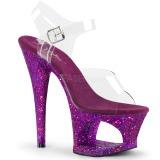 Lila 18 cm MOON-708LG glitter platå klackar skor