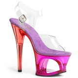 Lila 18 cm MOON-708MCT Akryl platå klackar skor