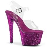 Lila 18 cm SKY-308LG glittriga platå klackar skor
