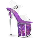 Lila 20 cm FLAMINGO-808GF glittriga platå klackar skor