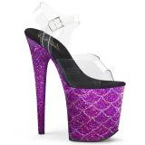 Lila 20 cm FLAMINGO-808MSLG glittriga klackar platå sandaler skor
