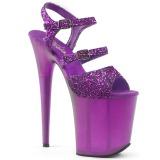 Lila 20 cm FLAMINGO-874 glittriga klackar platå sandaler skor