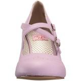 Lila 7,5 cm retro vintage FLAPPER-35 Pinup pumps skor med låg klack