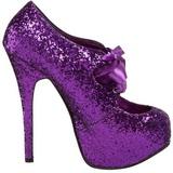 Lila Glitter 14,5 cm Burlesque TEEZE-10G Platform Pumps Skor