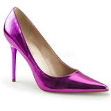 Lila Metallisk 10 cm CLASSIQUE-20 stora storlekar stilettos skor