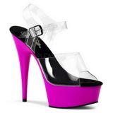 Lila Neon 15,5 cm DELIGHT-608UV Poledance skor med platå