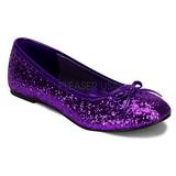 Lila STAR-16G glitter ballerinaskor med platta klack