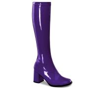 Lila lackstövlar blockklack 7,5 cm - 70 tal hippie boots disco gogo knähöga stövlar