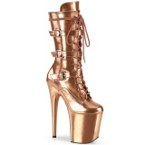 Metallic 20 cm FLAMINGO-1053 Exotic platform buckle boots gold