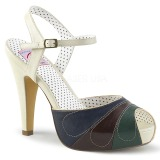 Multicolored 11,5 cm retro vintage BETTIE-27 Pinup sandals with hidden platform