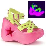 Neon 13 cm Demonia DYNAMITE-02 lolita sandaler med kilklack