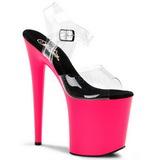 Neon Pink 20 cm Pleaser FLAMINGO-808UV Högklackade Platå