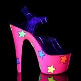 Neon glittriga klackar 18 cm Pleaser ADORE-708STR pole dance skor