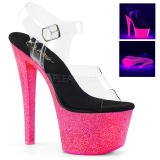 Neon glittriga klackar 18 cm Pleaser SKY-308UVG pole dance skor