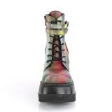 Neon regnbåge 11,5 cm SHAKER-52 lolita stövletter platå kilklackar