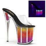 Neon strasstenar 20 cm FLAMINGO-801SRS dam tofflor med höga klack