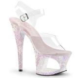 Opal 18 cm MOON-708LG glittriga platå klackar skor