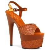Orange 18 cm ADORE-709-2G glittriga platå sandaler skor