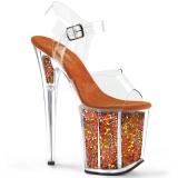 Orange 20 cm FLAMINGO-808GF glitter platå klackar skor
