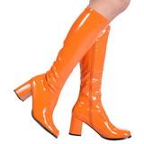 Orange Lackerade 8,5 cm GOGO-300 Höga Damstövlar för Män