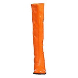Orange Shiny 8,5 cm GOGO-300 High Heeled Womens Boots for Men